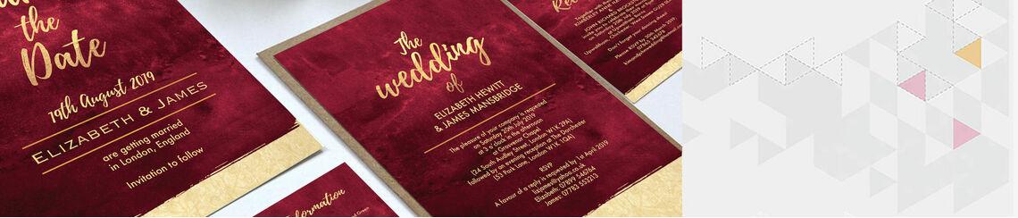 Burgundy & Gold Wedding Stationery