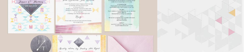 Pastel Geometric Wedding Stationery
