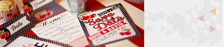 Retro Cherry Rockabilly Wedding Stationery