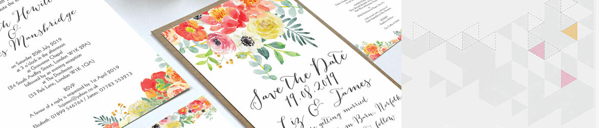 Coral Blush Flowers Wedding Stationery