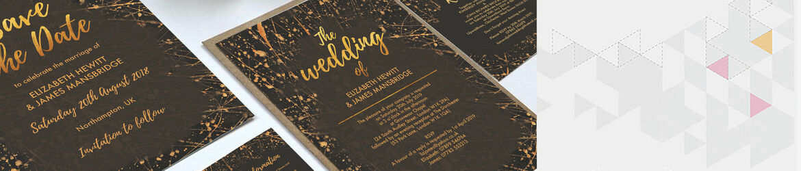 Black & Gold Abstract Wedding Stationery