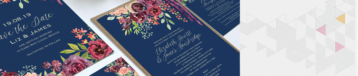 Navy & Burgundy Floral Wedding Stationery