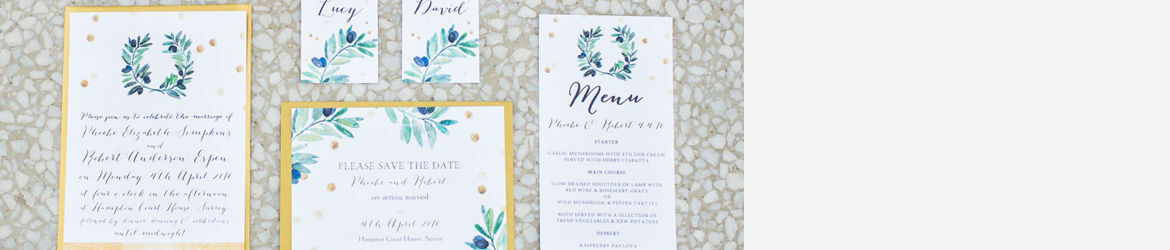 Olive Wreath Wedding Stationery