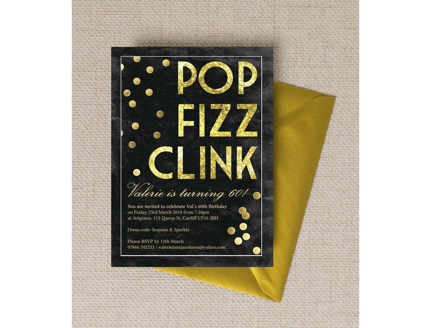 Pop Clink Fizz Champagne Prosecco Themed 60th Birthday Party Invitation