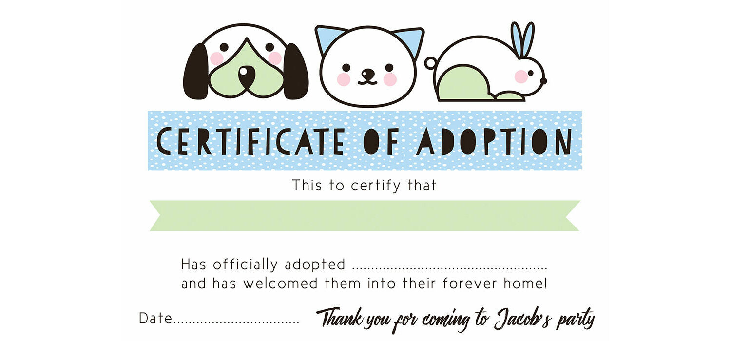 picture relating to Printable Adoption Certificate referred to as Canine Rescue Bash Bogus Adoption Certification - Blue