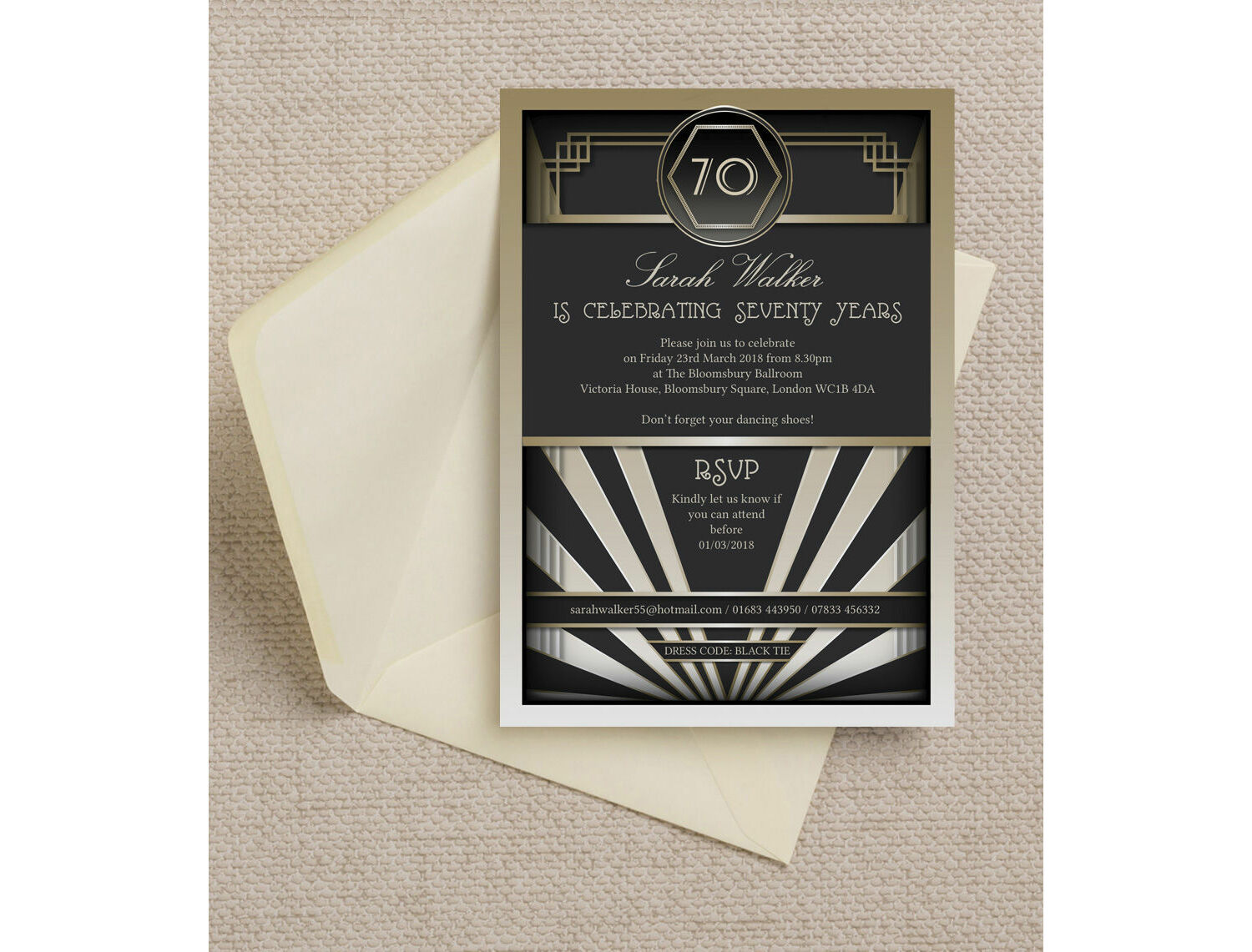 Black & Gold Art Deco Birthday Party Invitation from £0.90 each