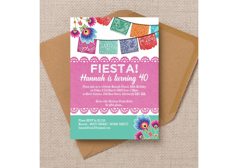 Mexican Fiesta Themed Birthday Party Invitation