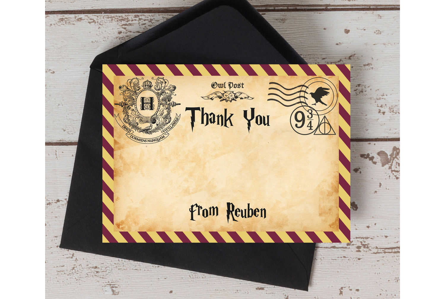 Witches Wizards Thank You Card Harry Potter Inspired