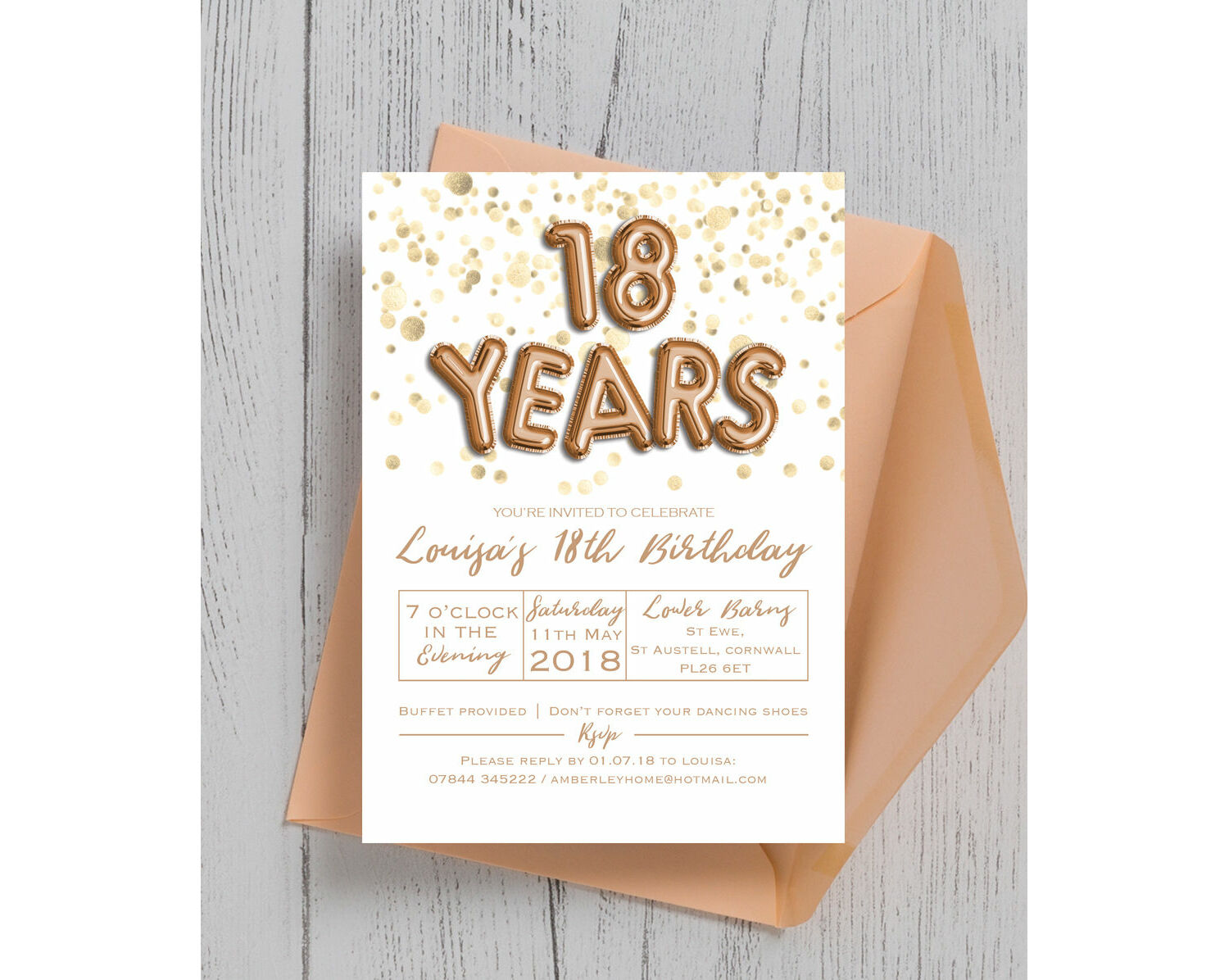 Gold Balloon Letters 18th Birthday Party Invitation From 0 90 Each