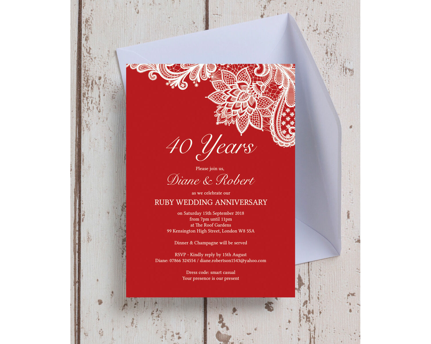 Red Lace Inspired 40th Ruby Wedding Anniversary Invitation
