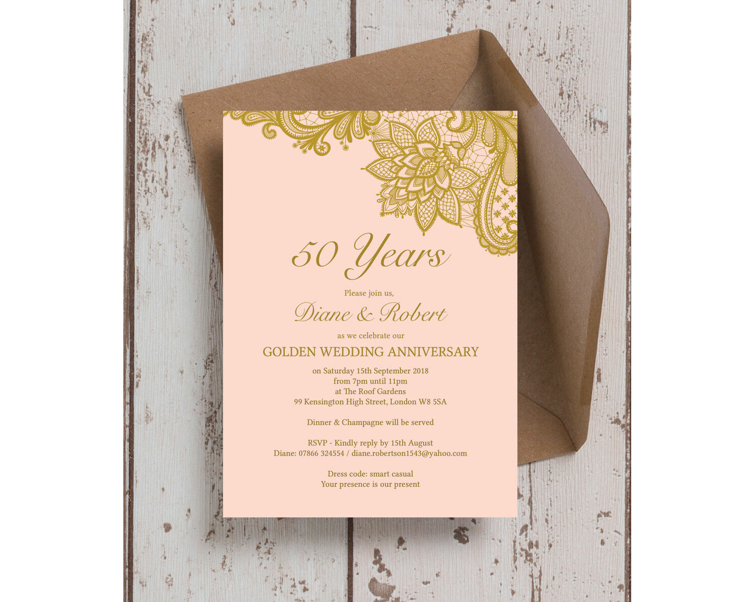 Golden Wedding Anniversary.Gold Lace Inspired 50th Golden Wedding Anniversary Invitation