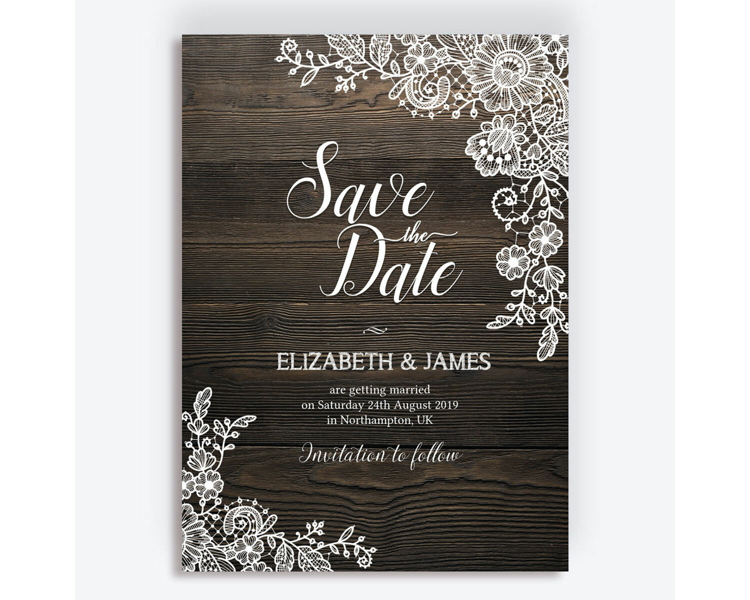 Wedding Save The Dates.Rustic Wood Lace Wedding Save The Date