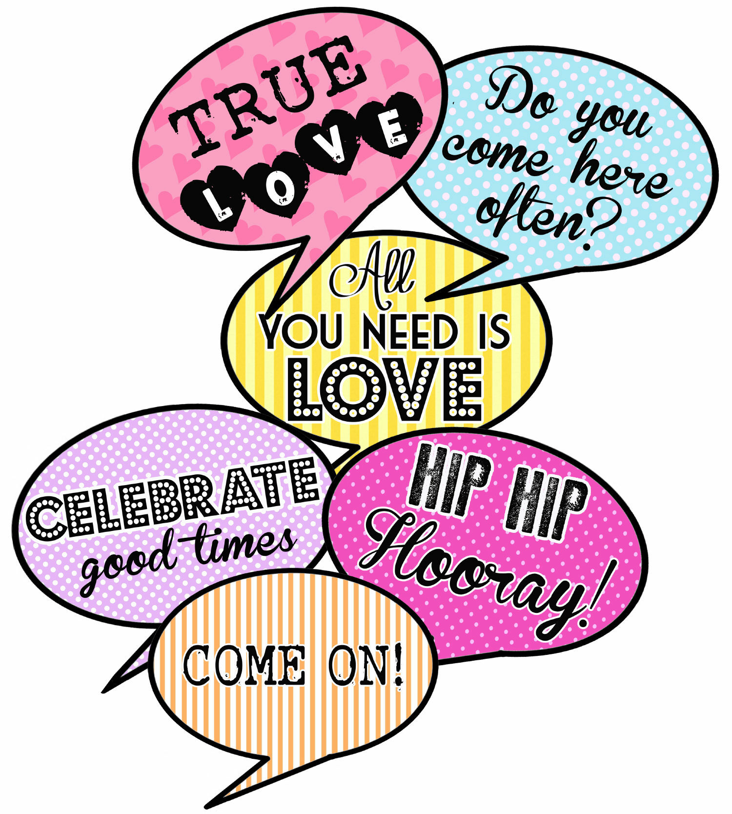 picture about Printable Props identified as Printable Speech Bubble Slogan Props