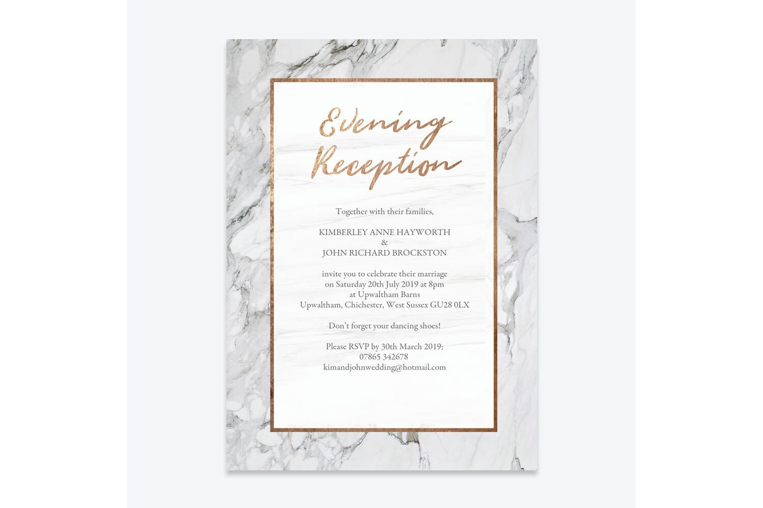 Marble Copper Evening Reception Invitation From 0 85 Each