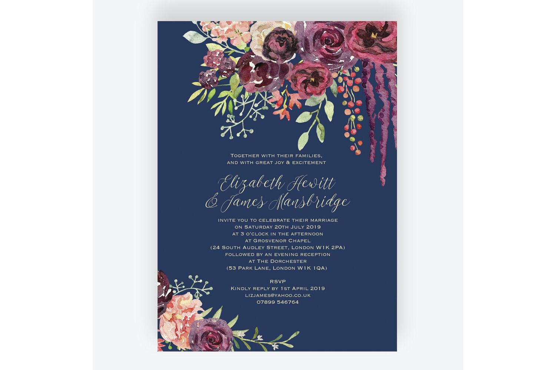 Navy Burgundy Floral Wedding Invitation From 1 00 Each