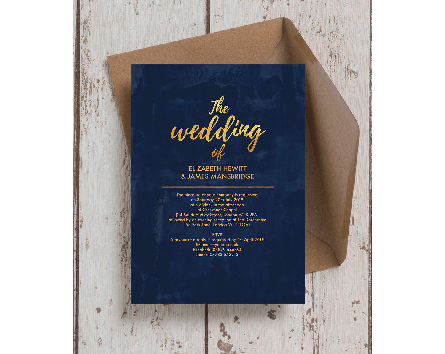 Navy & Gold Wedding Invitation from £1.00 each