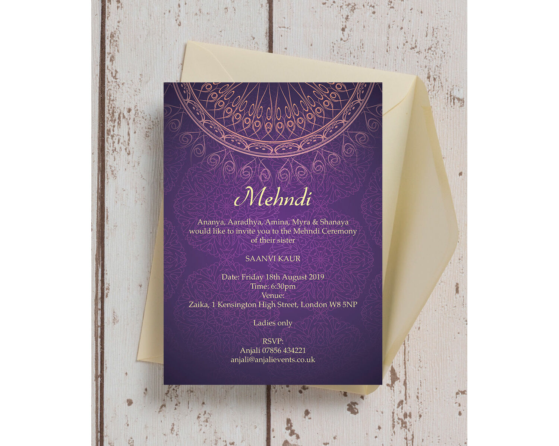 Purple \u0026 Gold Mehndi / Baraat Card