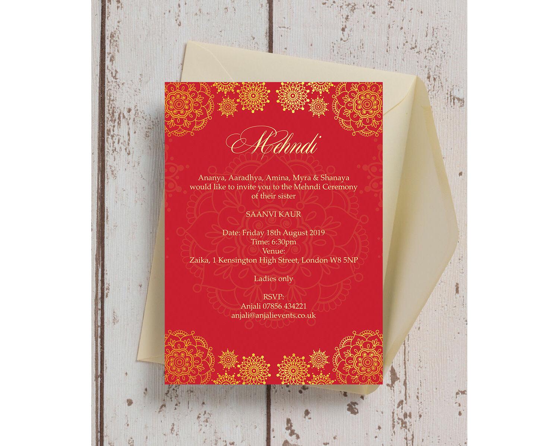 Red \u0026 Gold Mehndi / Baraat Card