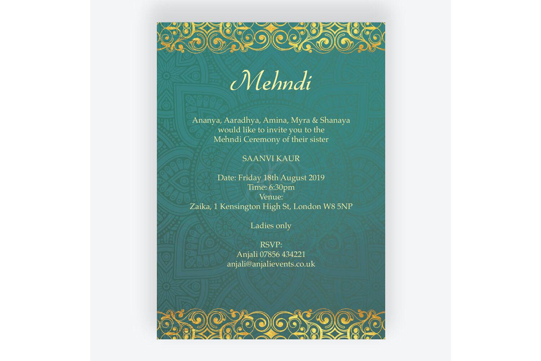 Teal \u0026 Gold Indian Mehndi / Baraat Card