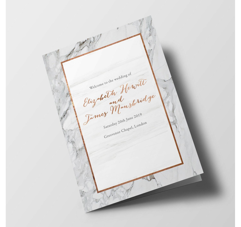 Wedding Order Of Service.Marble Wedding Order Of Service Booklet