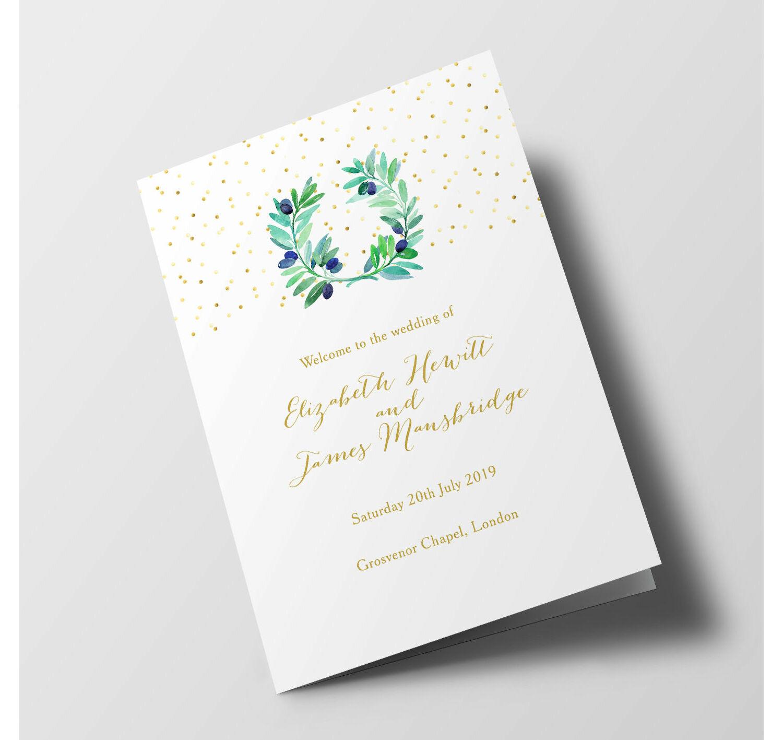 Wedding Order Of Service.Olive Wreath Wedding Order Of Service Booklet