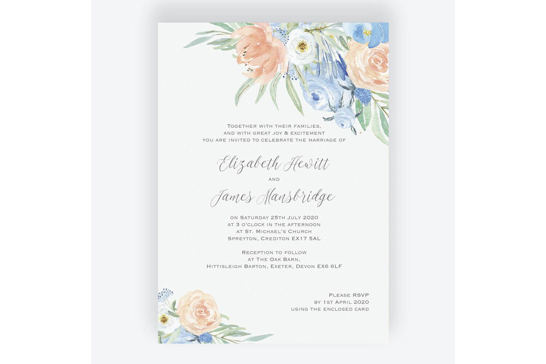 Floral Wedding Invitations.Peach Blue Floral Wedding Invitation From 1 00 Each