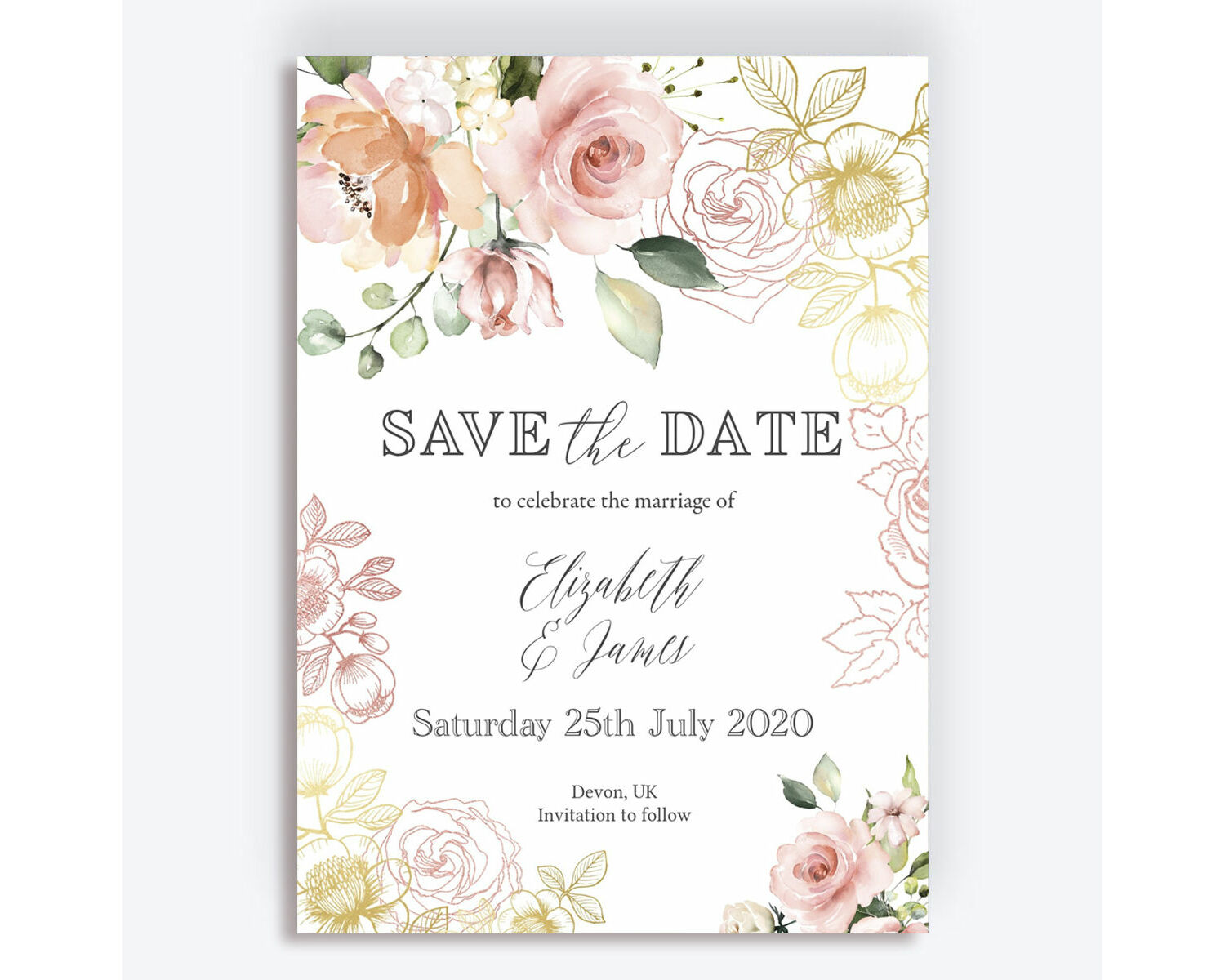 White Blush Rose Gold Floral Wedding Save The Date From 0 85 Each