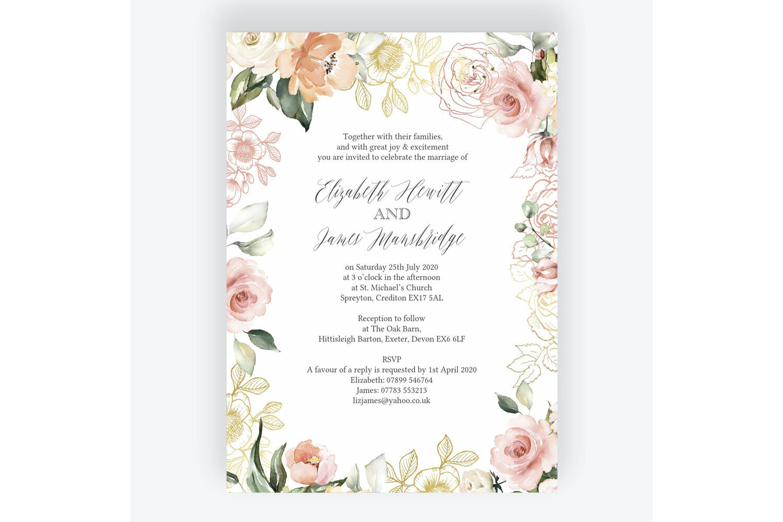 Floral Wedding Invitations.White Blush Rose Gold Floral Wedding Invitation From 1 00 Each