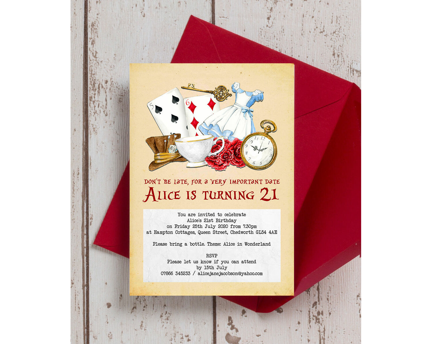 Pack of 4 Double sided Alice in Wonderland Street Signs Party Decorations