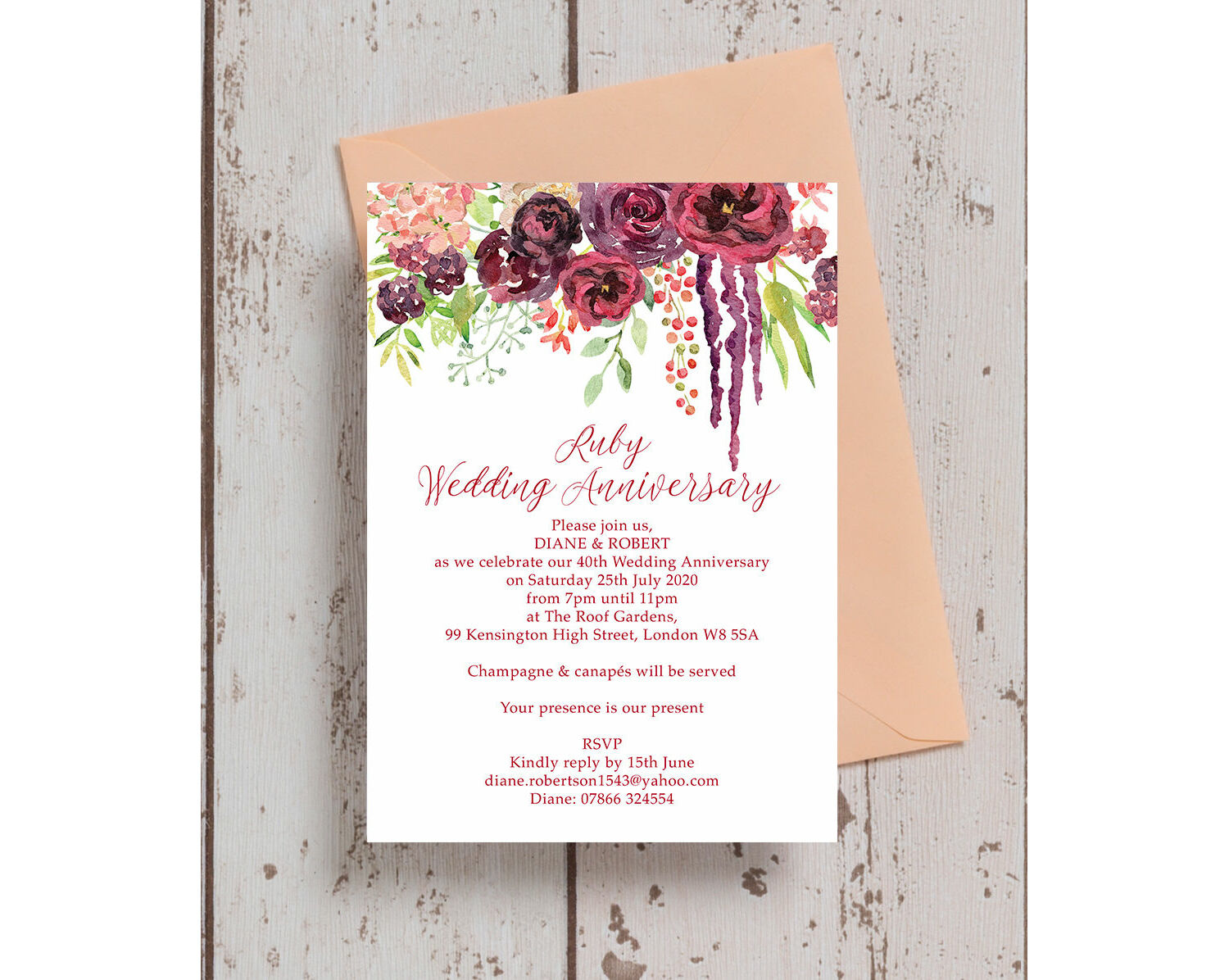 Burgundy Floral 40th Ruby Wedding Anniversary Invitation