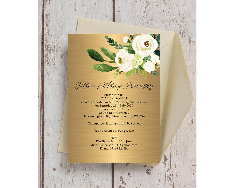 Gold Cream Flowers 50th Golden Wedding Anniversary Invitation From 0 90 Each