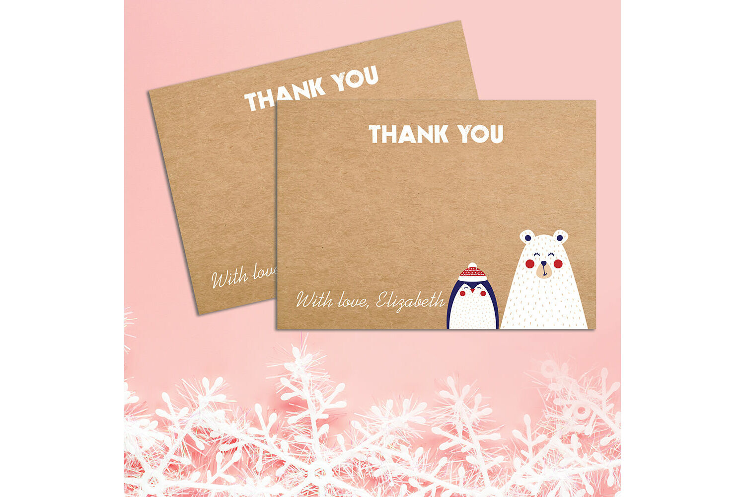 Christmas Gift Thank You Cards 5 x Personalised Prints with Envelopes