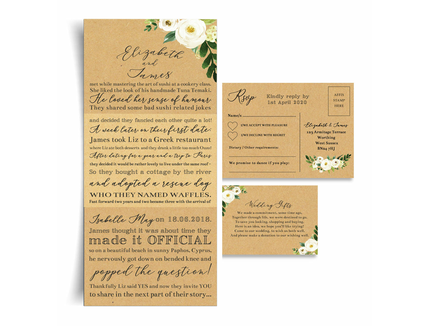 Our Love Story Cream Flowers Wedding Invitation From 2 25 Each