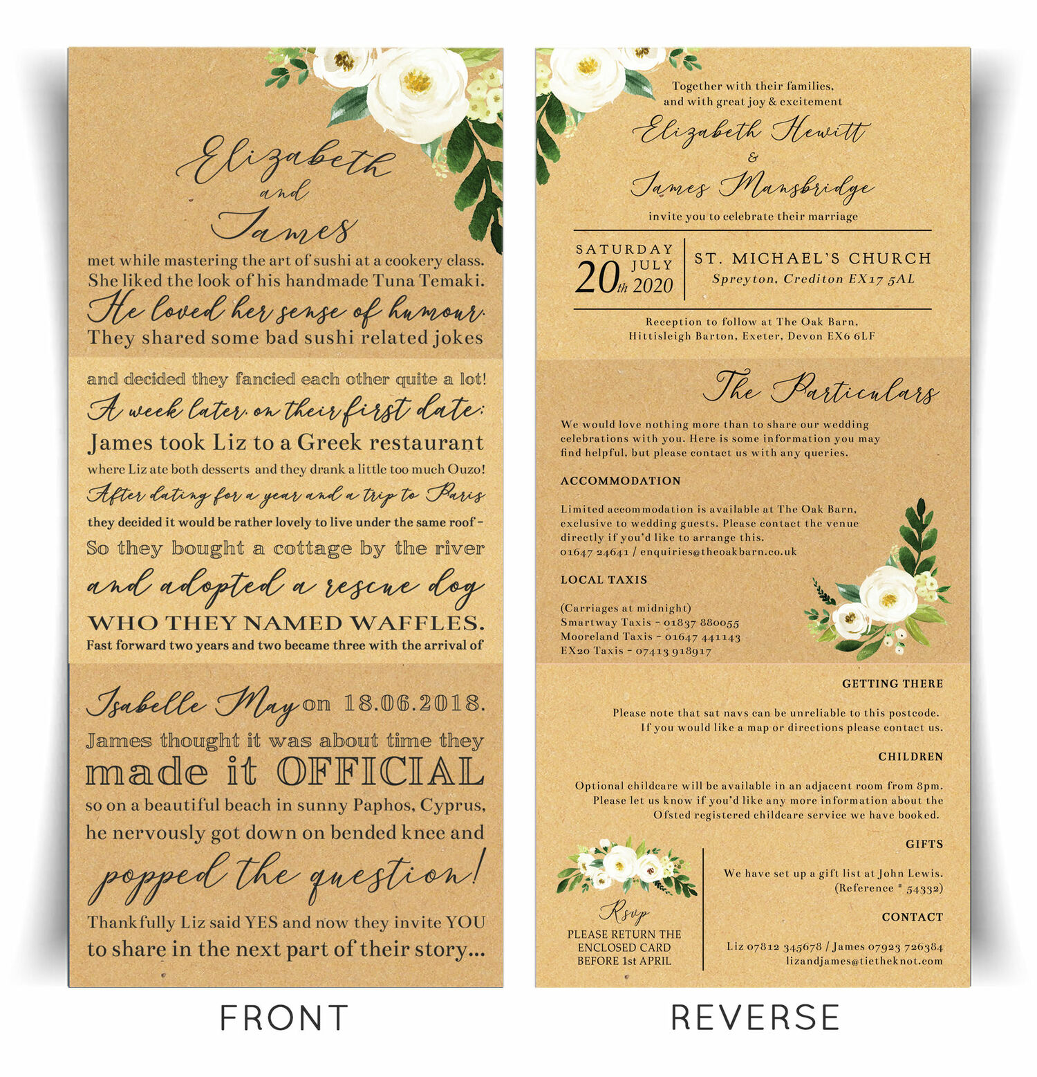 Our Love Story' Cream Flowers Wedding Invitation from £2.25 each