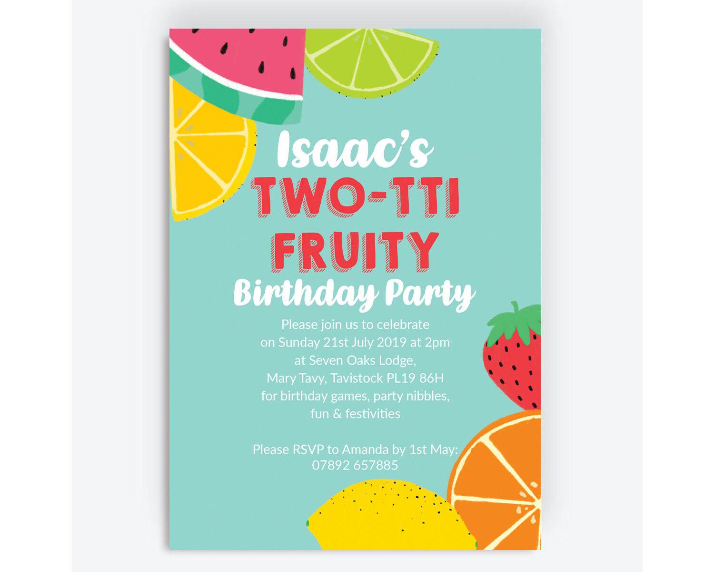 Aqua Tutti Frutti Birthday Party Invitation From 0 80 Each