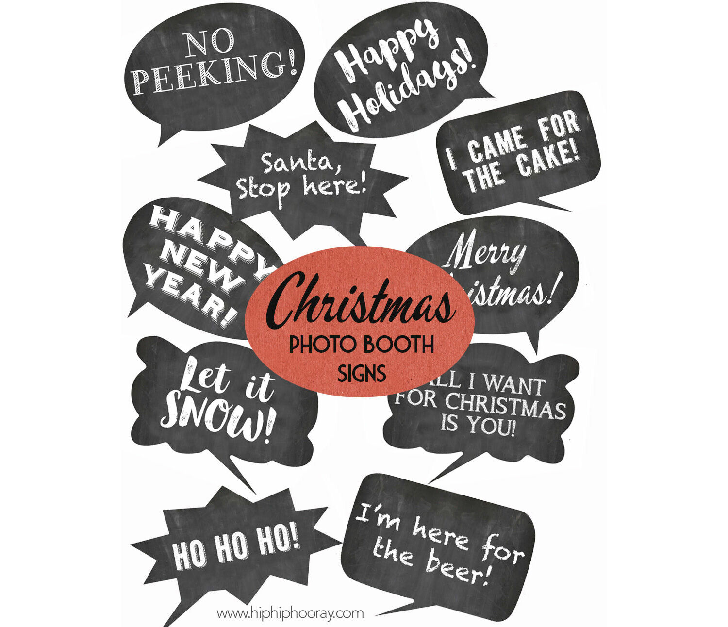 photograph regarding Christmas Photo Booth Props Printable titled Xmas Family vacation Chalkboard Speech Bubble Slogans - Printable Image Booth Props