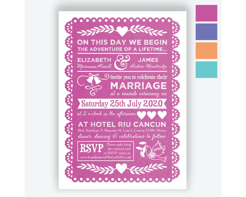 Mexican Inspired Papel Picado Wedding Invitation