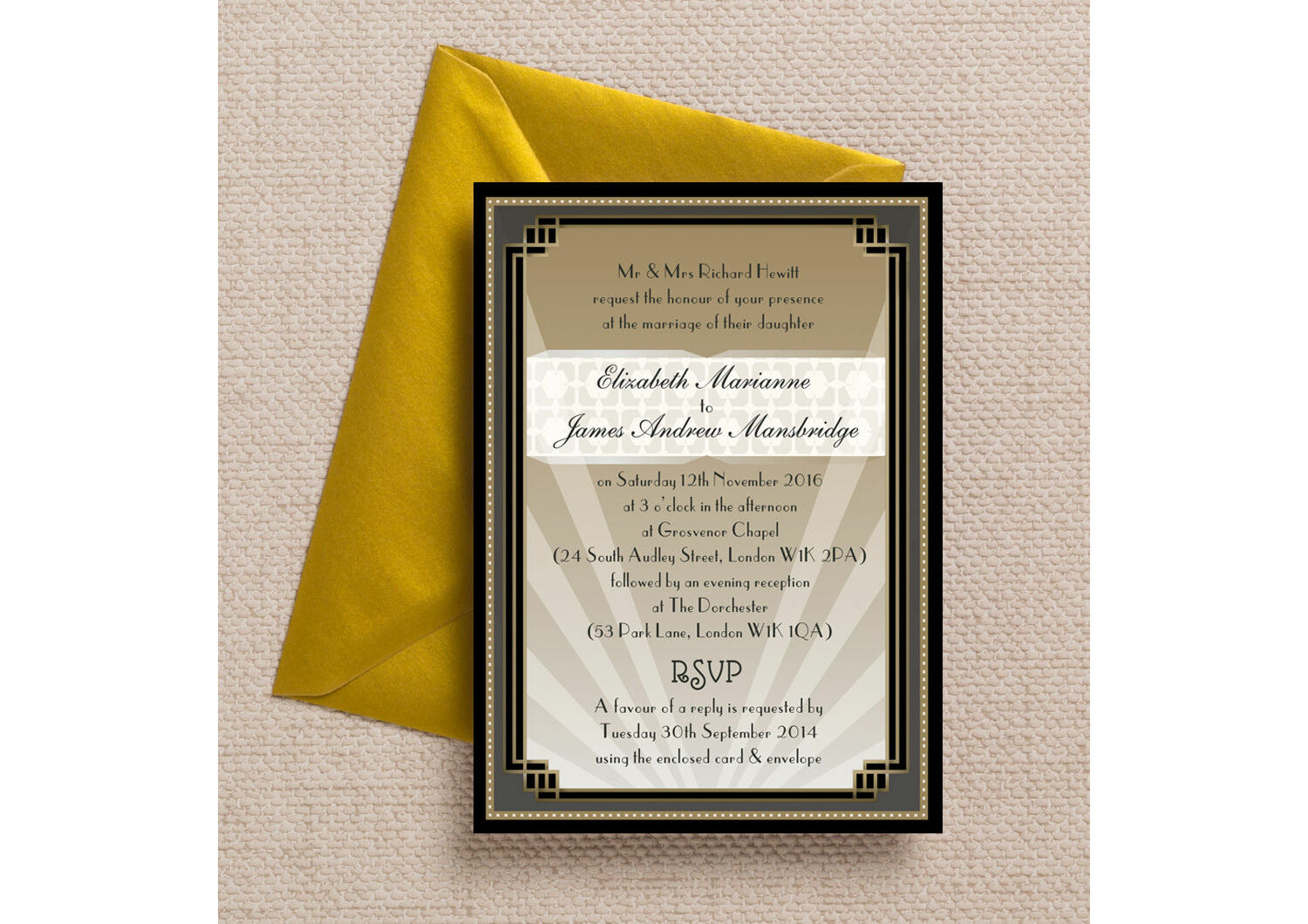 Art Deco Wedding Invitations.Art Deco Wedding Invitation