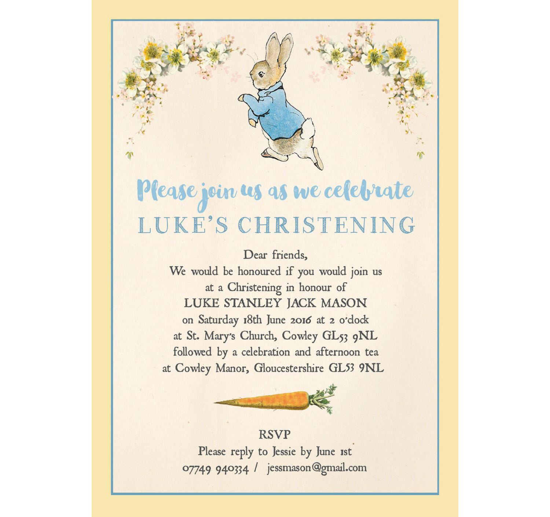 Peter Rabbit Christening Baptism Invitation Thank You Holy Communion Cards