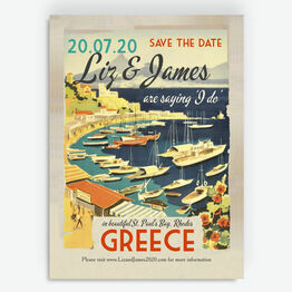 Vintage Greece Postcard Save the Date