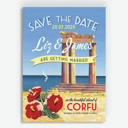 Vintage Greek Islands Wedding Save the Date