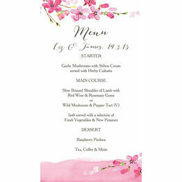 Cherry Blossom Wedding Menu Card