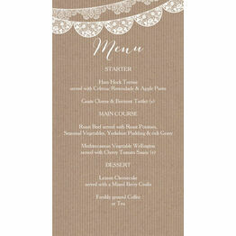 Rustic Lace Bunting Wedding Menu Card