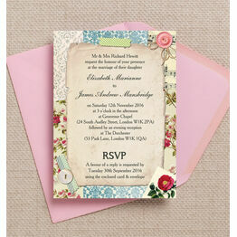 Vintage Scrapbook Wedding Invitation