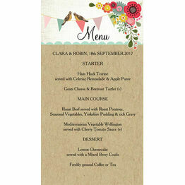 Rustic Woodland Wedding Menu Card