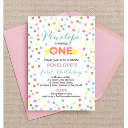 Pastel Confetti Children's Birthday Party Invitation