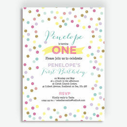 Pastel Confetti Children\'s Birthday Party Invitation