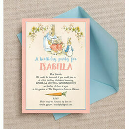 Flopsy Bunnies Beatrix Potter Birthday Party Invitation