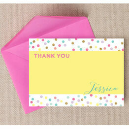 Pastel Confetti Personalised Thank You Card
