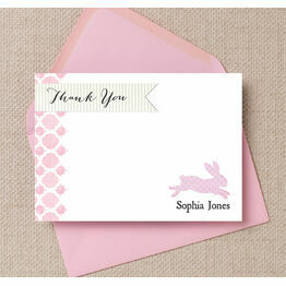 Pastel Bunny White & Pink Thank You Card